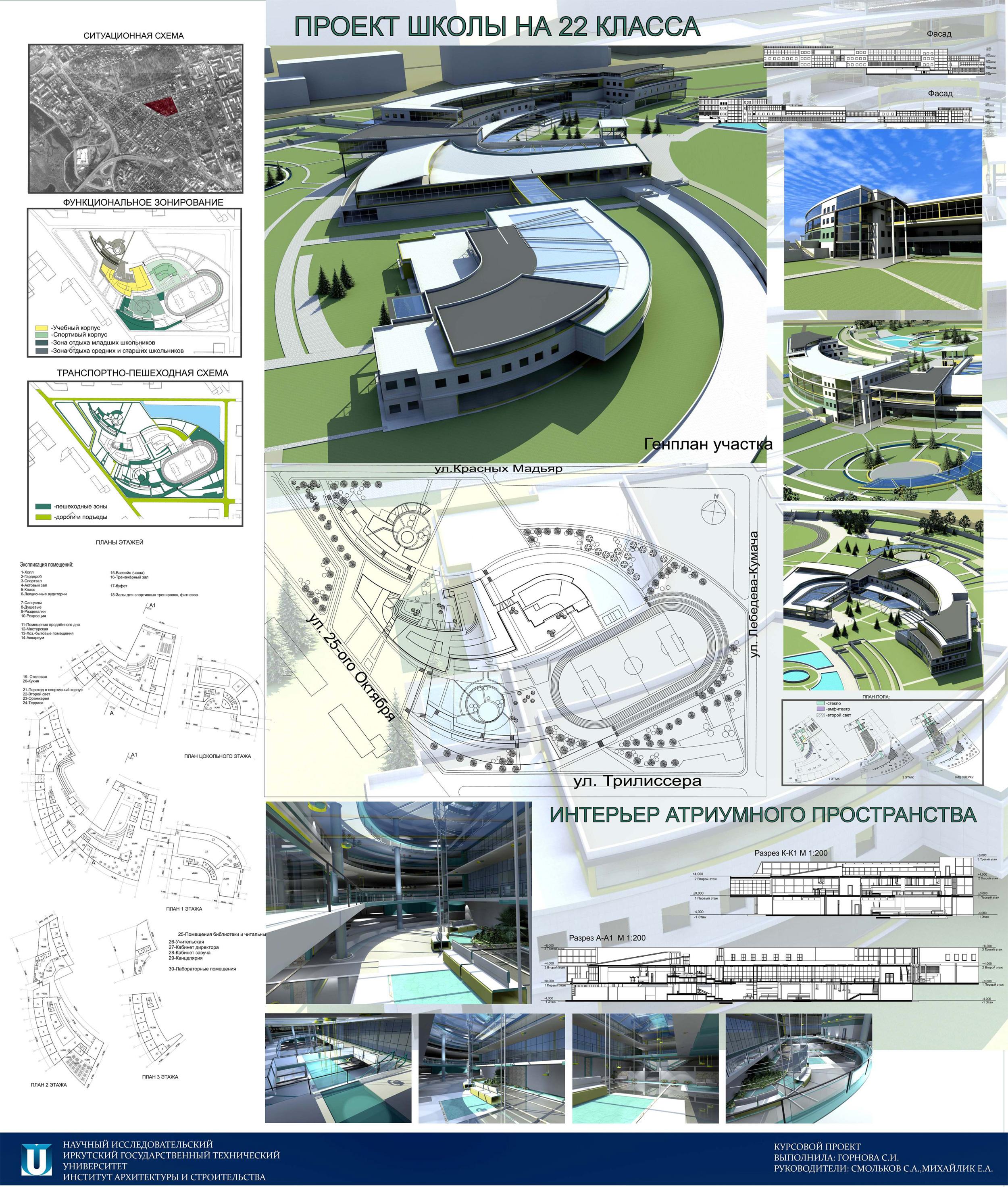 Школа на класса Иркутск Архитектура и проектирование  Школа на 22 класса Иркутск ИрГТУ Проект
