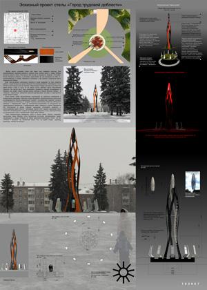 Эскизный проект стелы «Город трудовой доблести» в Ижевске