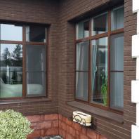 Компания «Окна Sirius»: Остекление частного дома. Ламинированный пластиковый оконный профиль