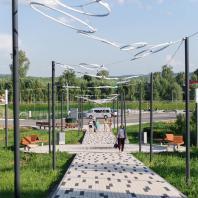 Бульвар на Советской улице, город Мамадыш, Татарстан, РФ. Программа развития общественных пространств