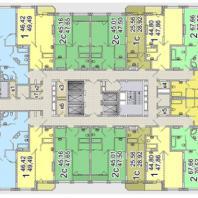 Жилой комплекс «Шесть Звезд» по ул. Аникина в Новосибирске. Типовой поэтажный план (блок 1а, 14-24 этаж)