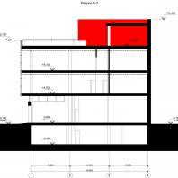Концептуальный проект общественного здания «RED WALL». Разрез. Архитектор: Сергей Косинов. Новосибирск