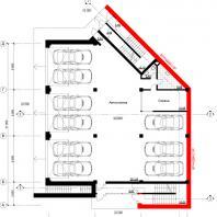 Концептуальный проект общественного здания «RED WALL». План 1-го этажа. Архитектор: Сергей Косинов. Новосибирск