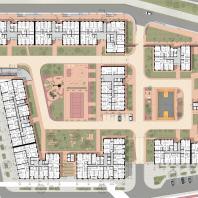 Проект жилого комплекса на набережной Ворошиловского района в г. Волгоград. 1 этаж. Малай Р.С. 2020 г.