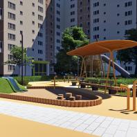 Концепция благоустройства придомовой территории «Двор-архипелаг». Проектная организация: АБ «Megabudka»