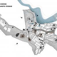 Концепция туристического кластера в с. Оймякон, Республика Саха (Якутия). Сводная схема генерального плана. BAZA14 и др.