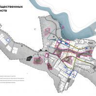 Концепция туристического кластера в с. Оймякон, Республика Саха (Якутия). Схема общественных пространств. BAZA14 и др.