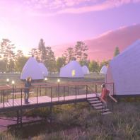 Концепция туристического кластера в с. Оймякон, Республика Саха (Якутия). Отель на природе (глэмкемп). BAZA14 и др.