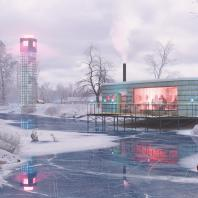 Концепция туристического кластера в с. Оймякон, Республика Саха (Якутия). Ресторан на воде. BAZA14 и др.