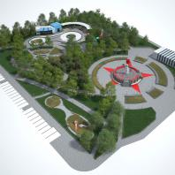 Концепция благоустройства территории, прилегающей к «МФК «Ривьера». ЖК №1» в Ижевске. Сквер «Звезда». Авторы: Белал Али, Гариб Мажд.