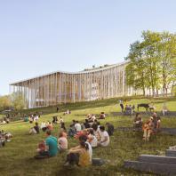 Проект концертного зала Tauras в Вильнюсе | Путь к вершине холма | Orange architects, 2019