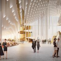 Проект концертного зала Tauras в Вильнюсе | Фойе концертного зала | Orange architects, 2019