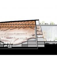 Проект концертного зала Tauras в Вильнюсе | Продольный разрез | Orange architects, 2019