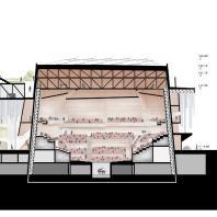 Проект концертного зала Tauras в Вильнюсе | Поперечный разрез | Orange architects, 2019