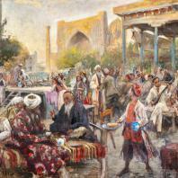 Павел Беньков. Чайхана на Регистане. Узбекистан, Самарканд. 1944 год.