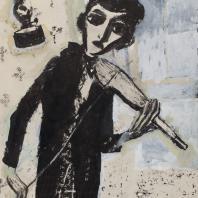 Григорий Ингер. Из серии «Мое детство». «Скрипка» 1991 г. Бумага, тушь, гуашь. 51,7х36,7