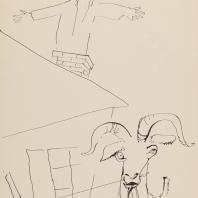Григорий Ингер. Иллюстрация к рассказу Шолом Алейхема «Заколдованный портной» 1970 г. Бумага, тушь. 43х30,5