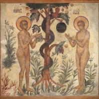 Грехопадение Адама и Евы. Фресковая живопись Троице-Макарьева монастыря