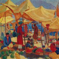 Николай Карахан. Базар у Сырдарьи. 1929