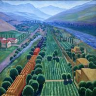 Николай Карахан. Пейзаж с поездом