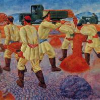 Николай Карахан. Строят дорогу. 1934