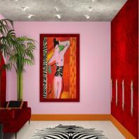Гардеробная: Дизайнер Анна Муравина. Создавая гардеробную, дизайнер размышляла, каким образом можно привлечь внимание зрителя к выставочному интерьеру.