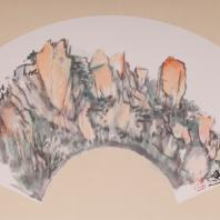 Хань Чао Три вида горы Сишань Бумага на картоне, тушь, краски