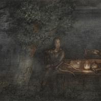 Франческа Ярбусова. «Стол поэта» 1970-е гг. Смешанная техника. К эпизоду из фильма «Сказка сказок»