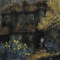 Франческа Ярбусова. «Волчок в дверях дома». Смешанная техника, 1970-е гг. К эпизоду из фильма «Сказка сказок»