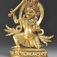 """Неизвестный мастер. Скульптура """"Сита - Ачала"""". Непал-Тибет, XVII в. Бронза, камень полудрагоценный, литье, гравировка, позолота, раскраска, инкрустация. Из коллекции ГМВ"""
