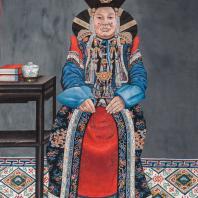 Джалсарай. Копия картины Сономцэрэна. Портрет супруги тушету-хана. Монголия, 1948 год. Бумага, темпера. Государственный музей Востока. Из коллекции ГМВ