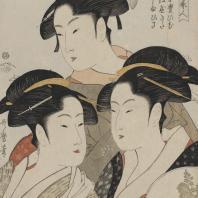 Китагава Утамара (1753-1806). Три красавицы наших дней. Цветная ксилография. Из коллекции ГМВ