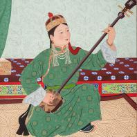 У. Ядасмурэн. Исполнительница на шанзе. Монгогия, 1959 г. Бумага, гуашь. Из коллекции ГМВ