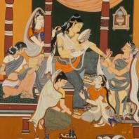 Гауранго Чаран Сон. Туалет Радхи, 1930- 1940е гг. Бумага, смешанная техника. Из коллекции ГМВ