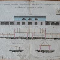 «Фасад и профили службам, построенным при доме для квартирования Командира в Ижевском оружейном заводе». 1857