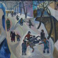 Зухур Хабибуллаев. Зима в Душанбе. 1974 г. холст, масло. Коллекция Юлии Вербицкой