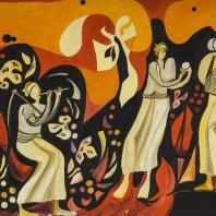 Али Гаддаф. Радость жатвы. Южный Йемен. 1976 г. Оргалит, краски масляные. Из коллекции ГМВ