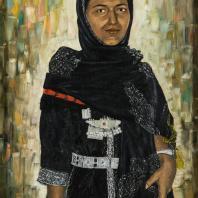 Нуан М. Портрет йеменки. Йемен 1976 г. Оргалит, краски масляные. Из коллекции ГМВ