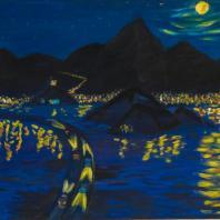 Лятиф Абдель. Ночь над моим городом. Йемен. 1976 г. Оргалит, краски масляные. Из коллекции ГМВ