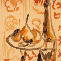Кирилл Зданевич. Натюрморт с грушей. Конец 1910-х. Бумага, акварель, 21х15,5