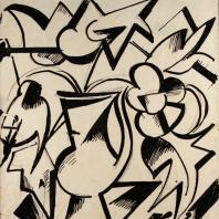 Кирилл Зданевич. Кубиистический натюрморт. Конец 1910-х. Бумага, тушь, перо, 20,5х18
