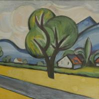 Кирилл Зданевич. Пейзаж с деревом. 1962. Бумага, гуашь