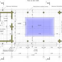 Проект бани с бассейном, беседкой и барбекю. 113 м²